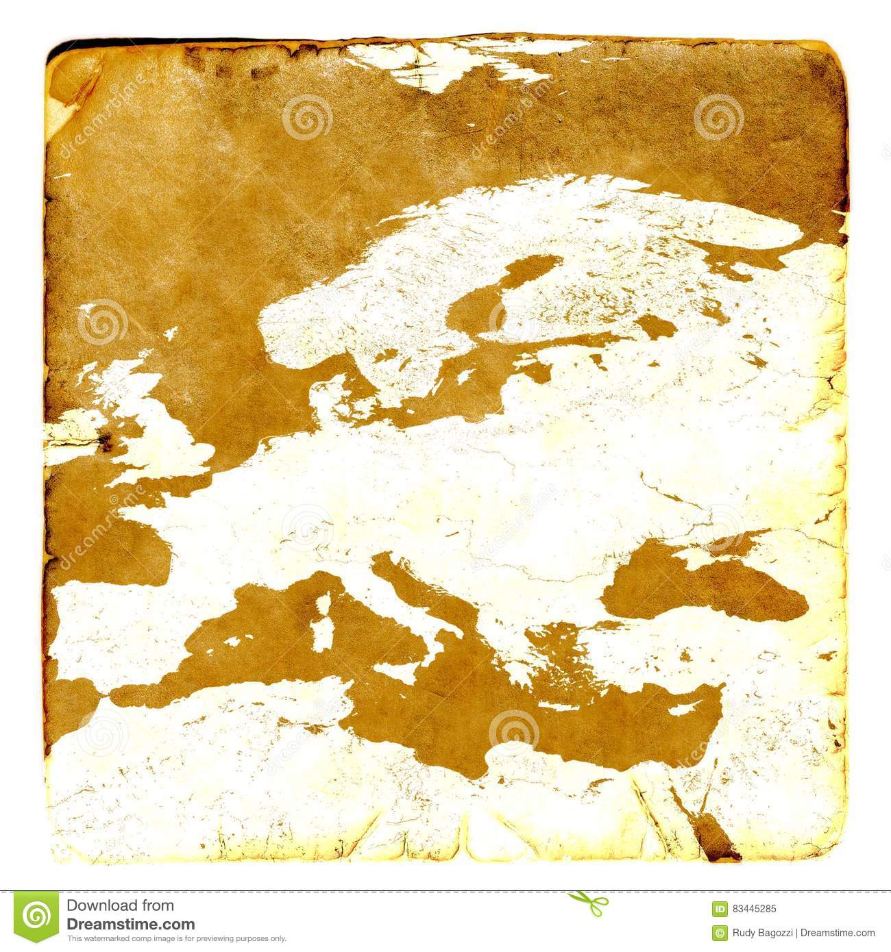 Map Of Europe Blank In Old Style Brown Graphics A Retro Mode On