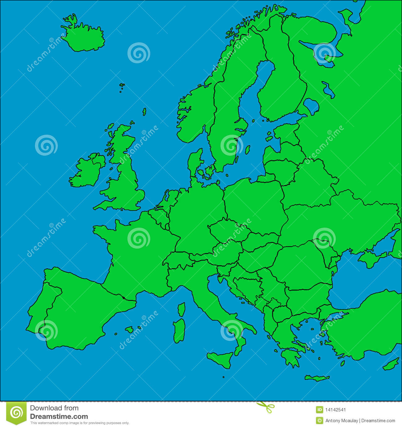 Green Map Of Europe.Map Of Europe With Borders Stock Illustration Illustration Of