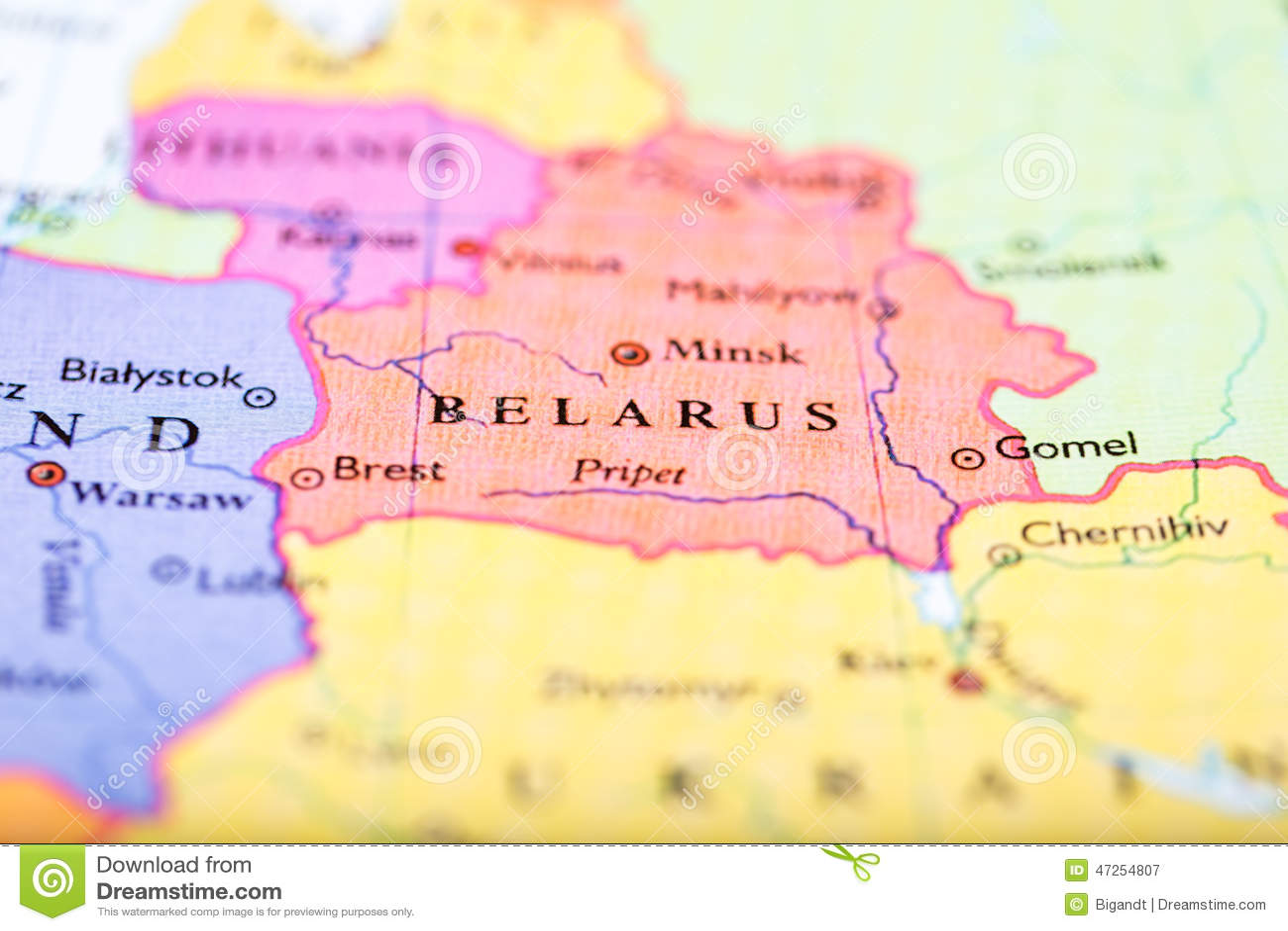 Map Of Europe Centered On Belarus Stock Image - Image of push ...