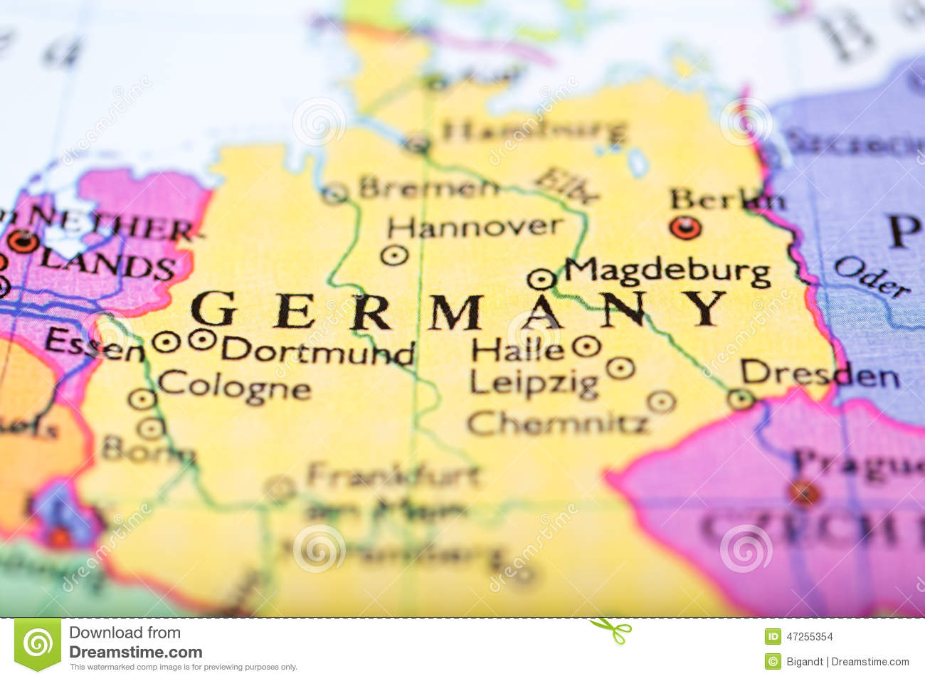 Map Of Europe Centered On Germany Stock Photo Image - Germany map download