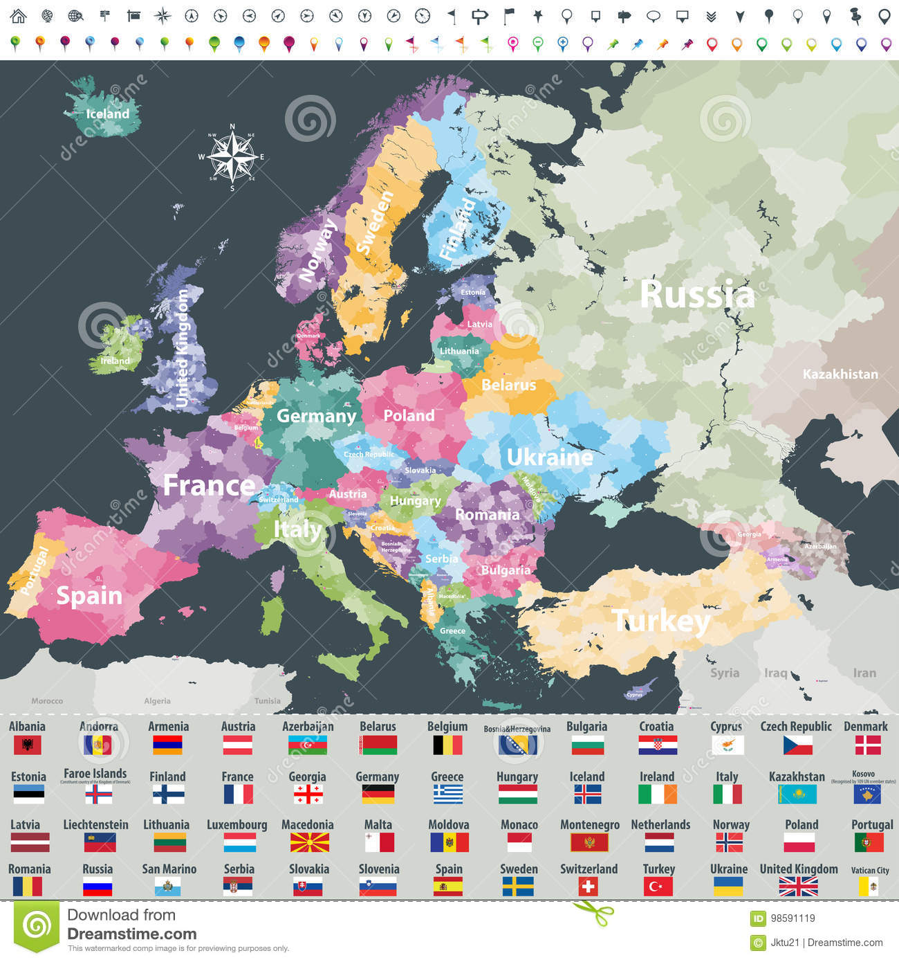 Map Of Europe Colored By Countries With Regions Borders Stock