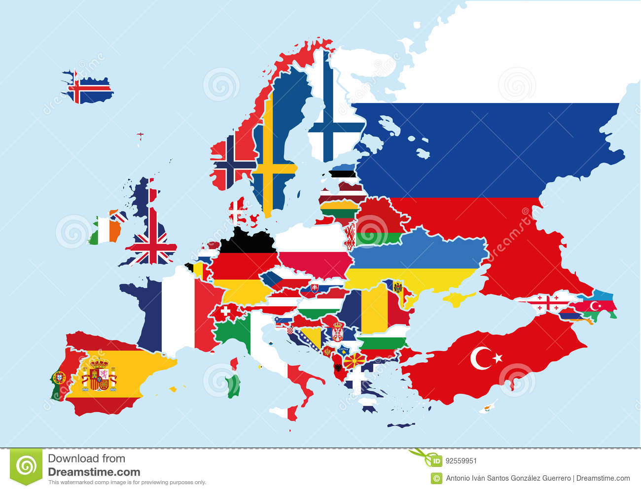Map Of Europe Colored With The Flags Of Each Country Stock Vector ...