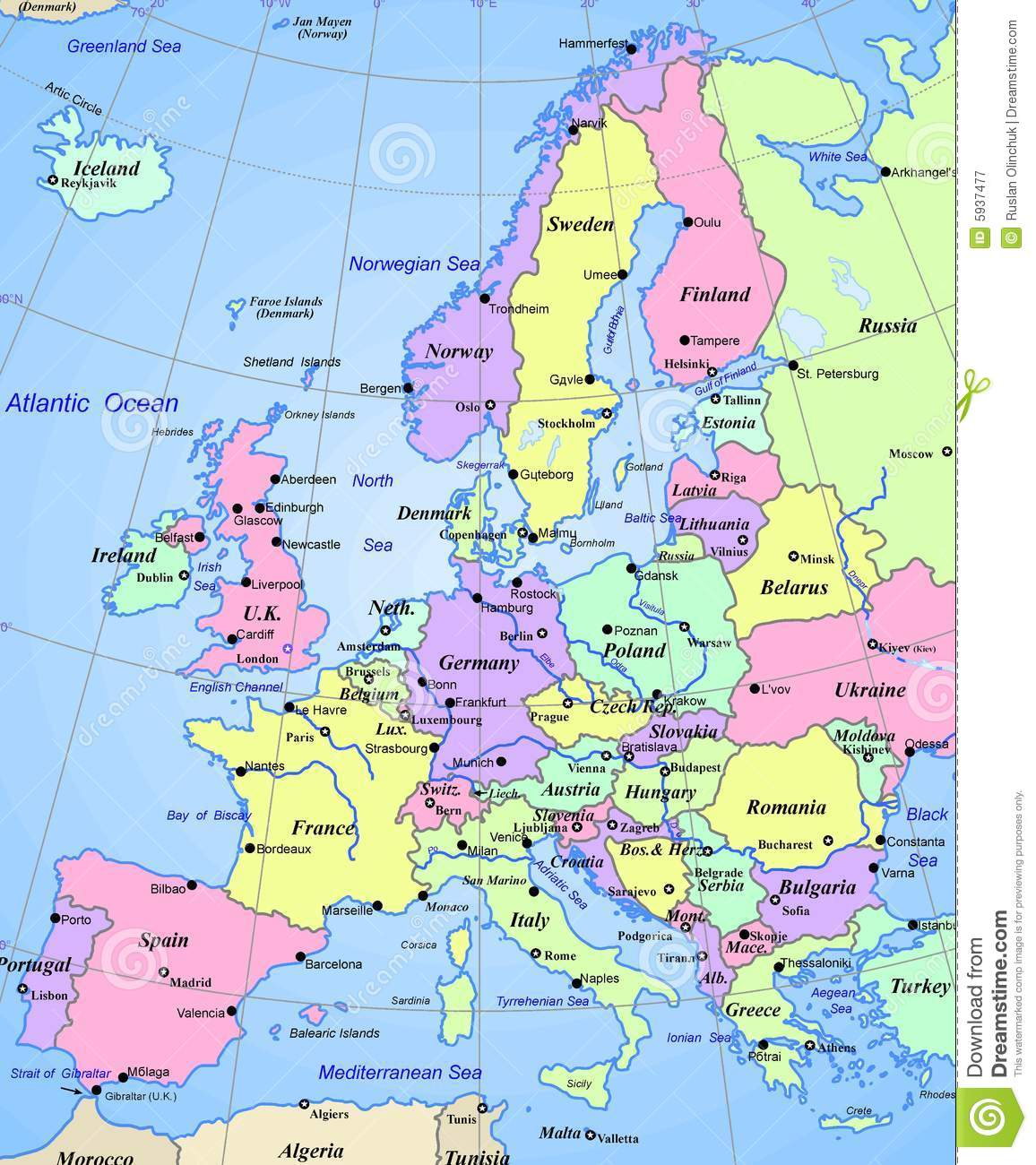 Map Of Europe Continent Royalty Free Photography Image – Map of the European Continent