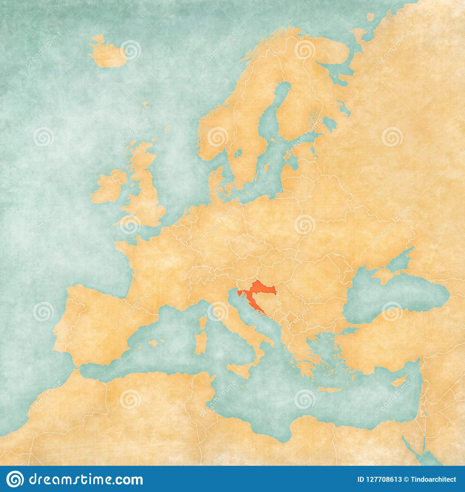 Map Of Europe Croatia Stock Illustration Illustration Of Hrvatska