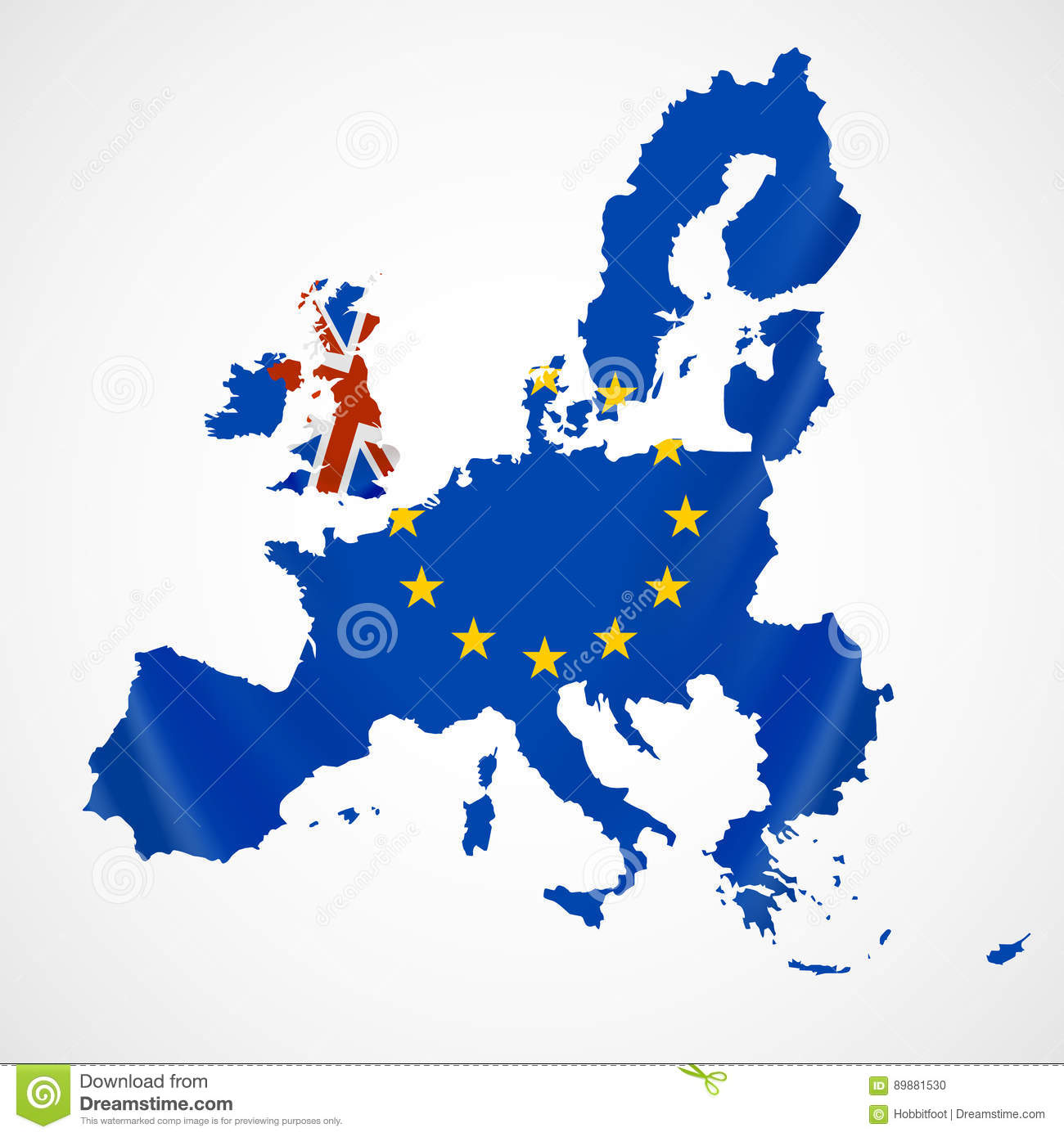 Map of Europe with European Union members and Great Britain or United Kingdom in brexit.