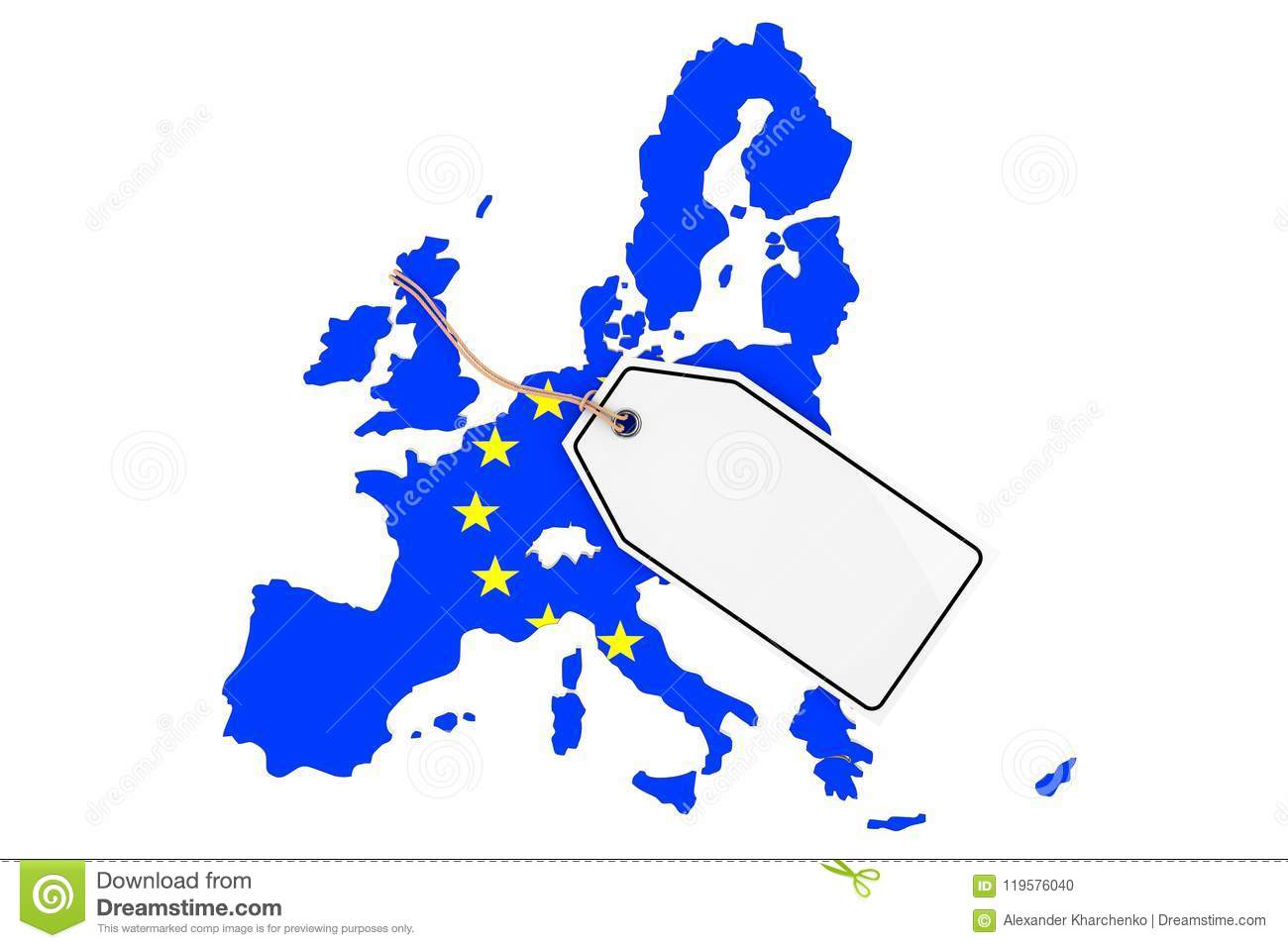 Map Of Europe For Sale.Map Of Europe With Flag And Blank Sale Tag 3d Rendering Stock