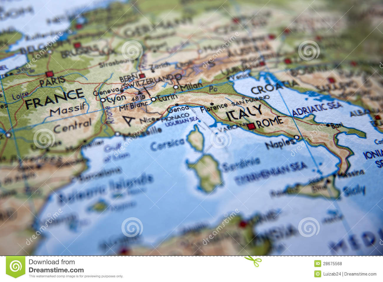 Map Of Europe With Focus On Italy Stock Photo Image Of Target Goal 28675568