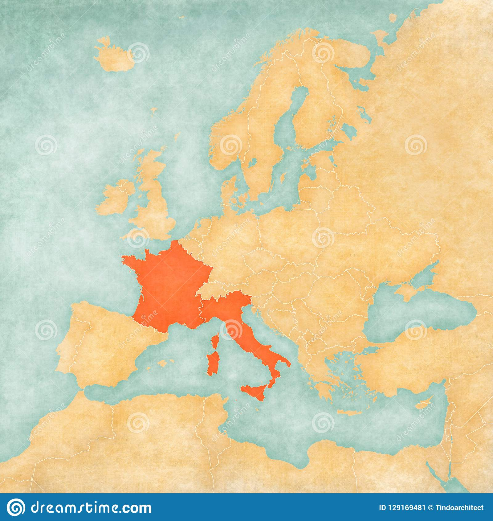 Mainland Europe Map.Map Of Europe France And Italy Stock Illustration Illustration