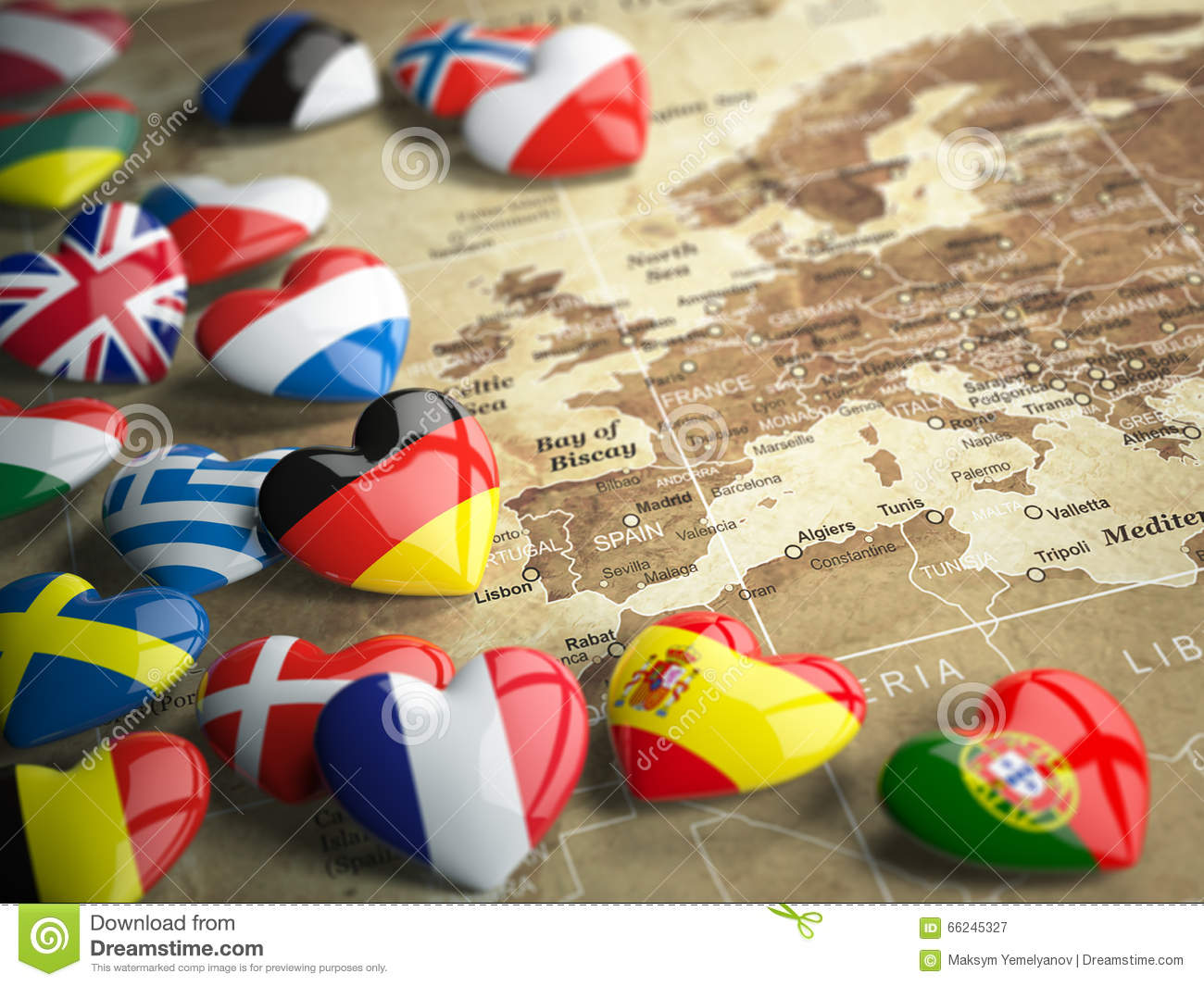 Map Of Europe And Hearts With Flags Of European Countries Trave - Map of europe countries
