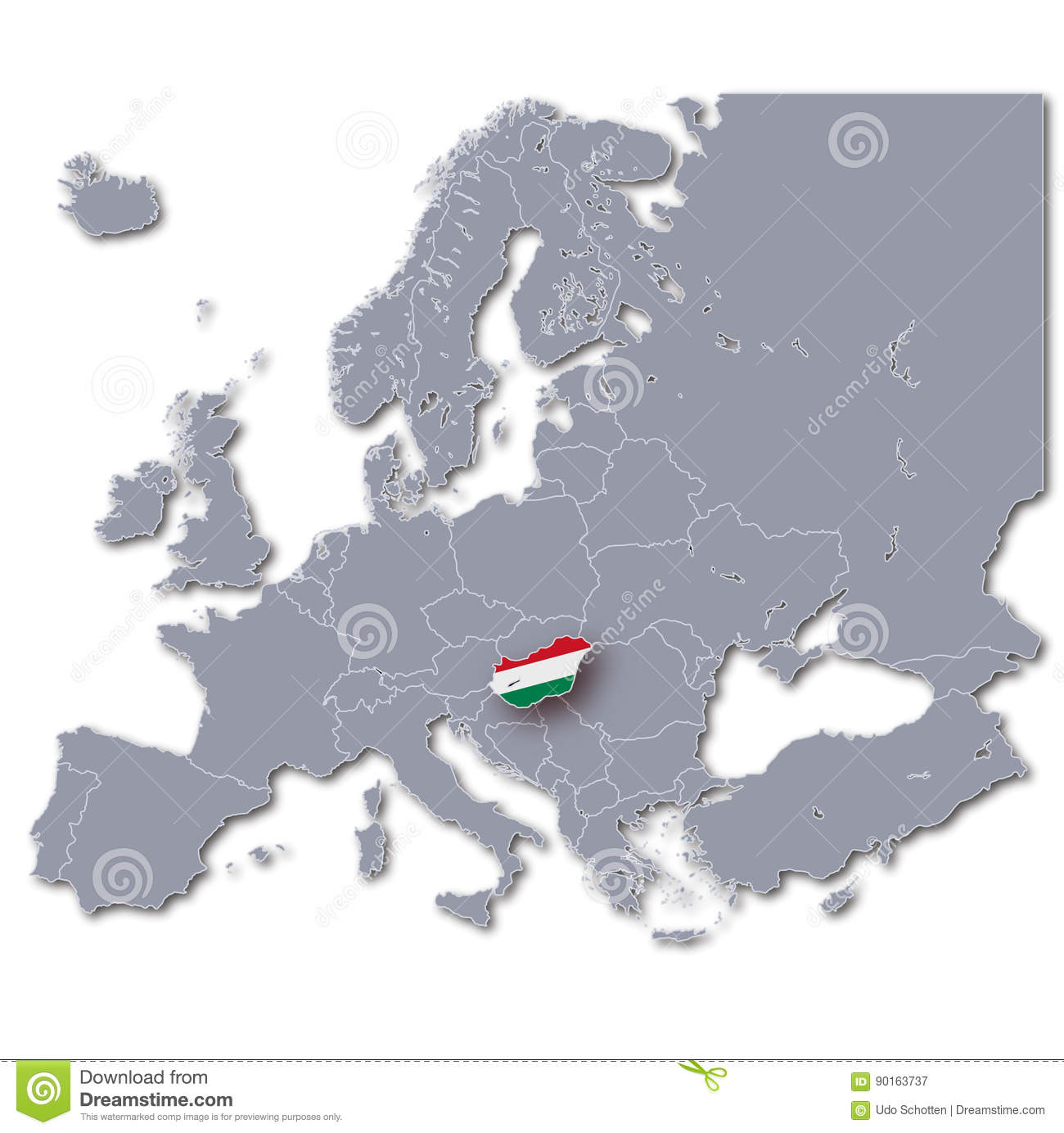 Picture of: Map Of Europe With Hungary Stock Illustration Illustration Of Republic 90163737