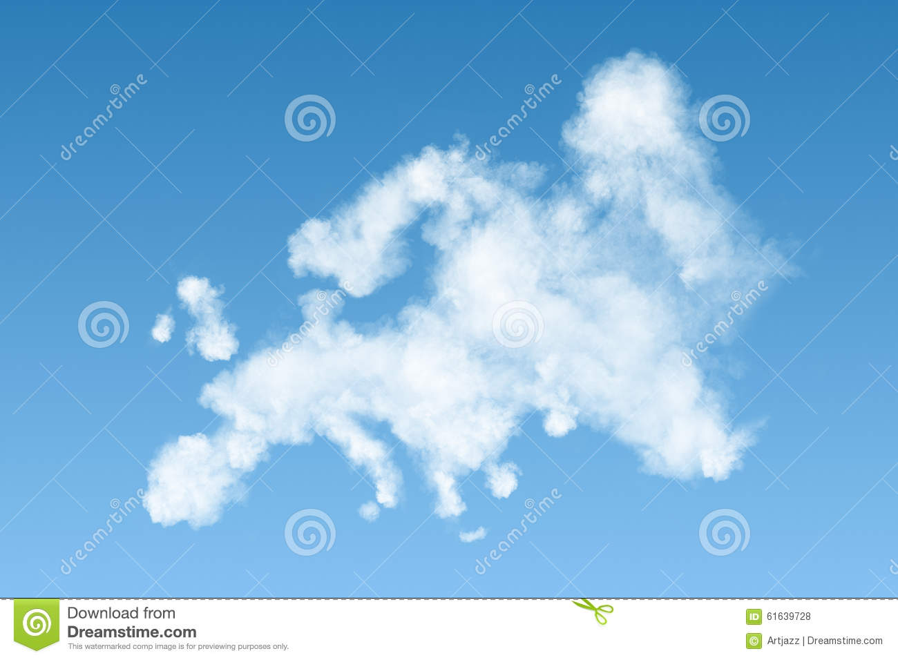 Worksheet What Clouds Made Of map of europe made white clouds on sky stock illustration sky