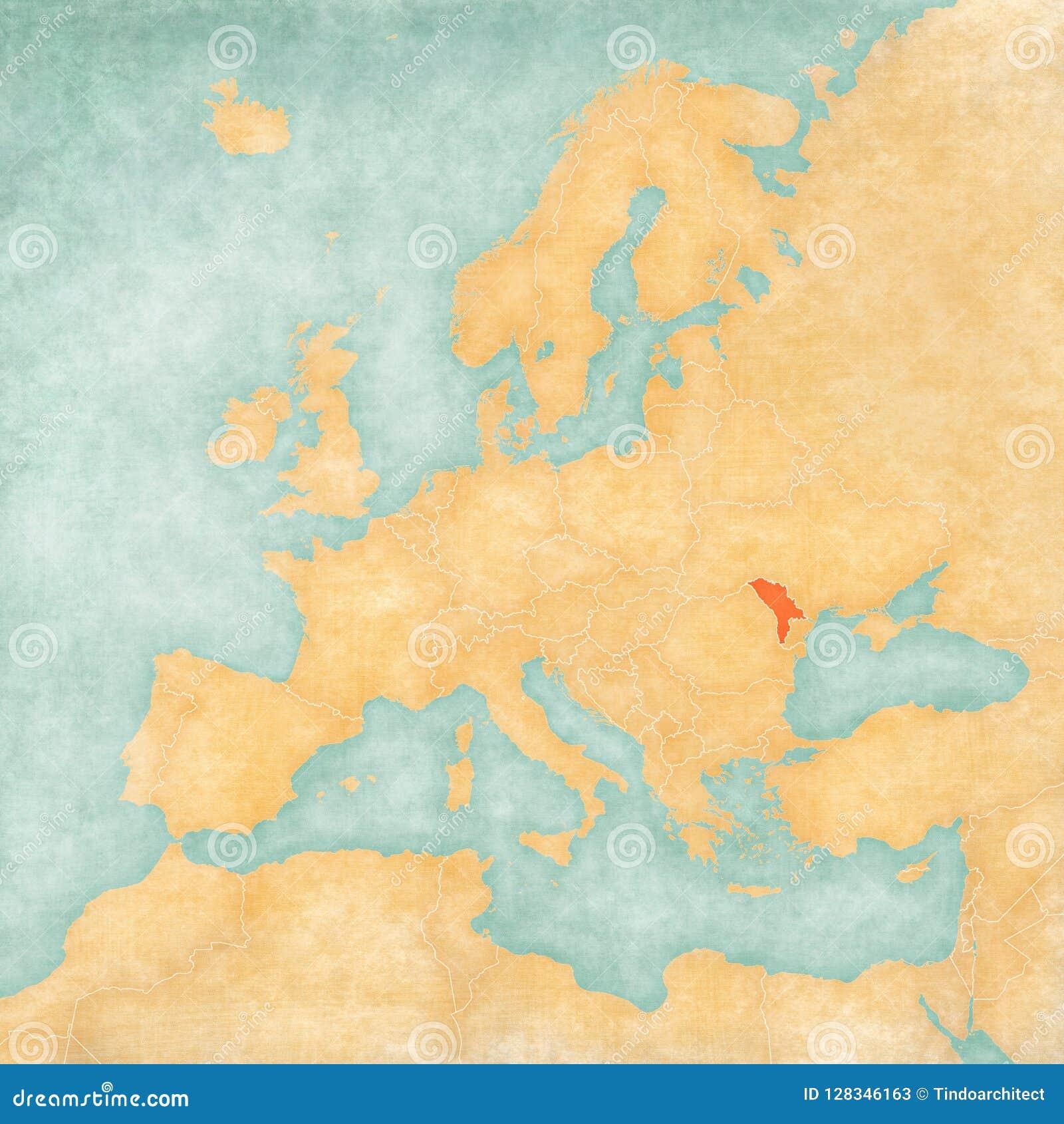 Map Of Europe Moldova Stock Illustration Illustration Of Border
