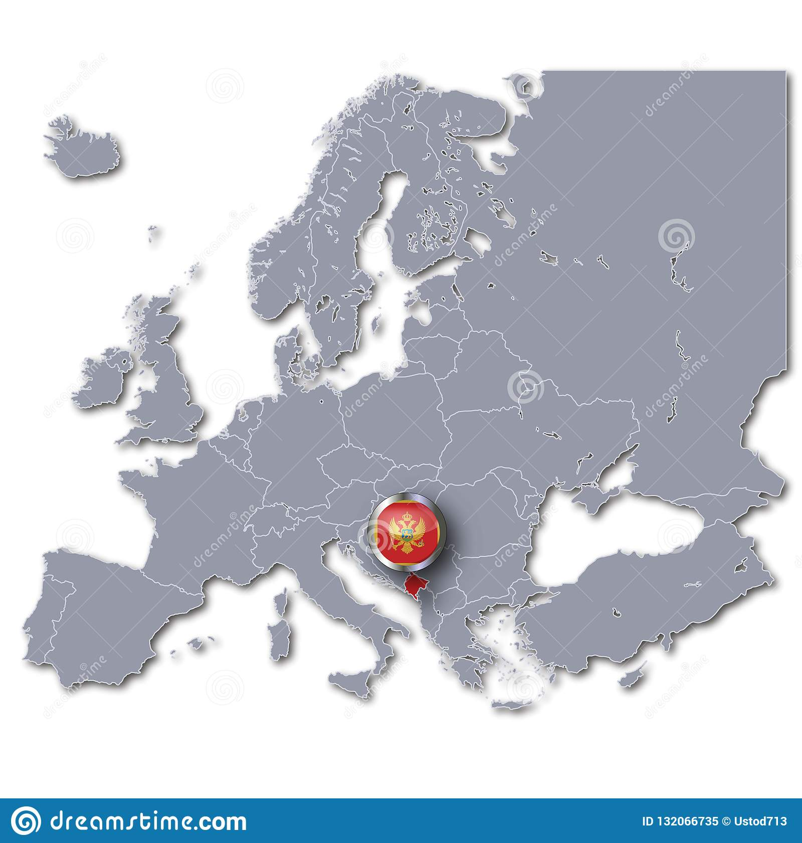 Map Of Europe With Montenegro Stock Illustration Illustration Of