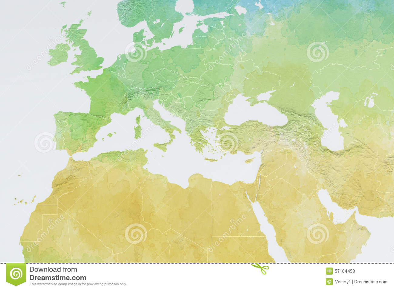 Map Of Europe, North Africa And Middle East, Relief Map Stock ...