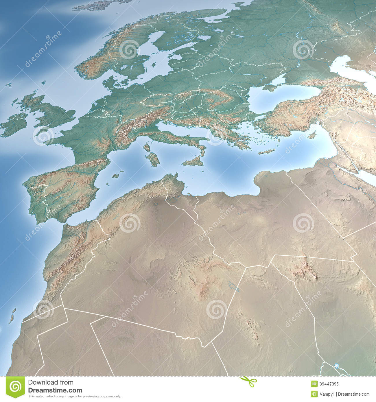 North Africa World Map.Map Of Europe And North Africa Stock Illustration Illustration Of