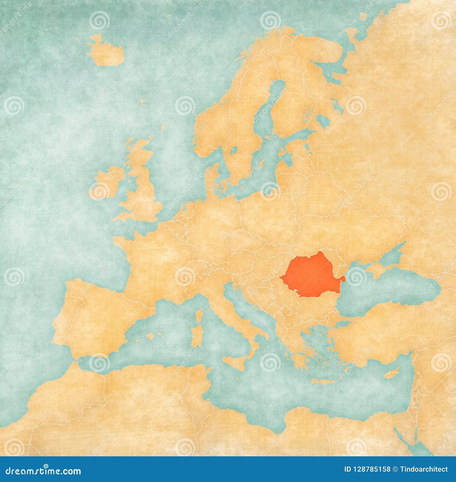 Romania On Map Of Europe.Map Of Europe Romania Stock Illustration Illustration Of Romania