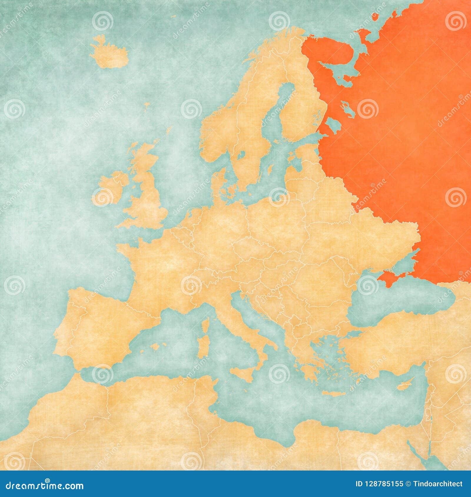 Map of Europe - Russia stock illustration. Illustration of ...