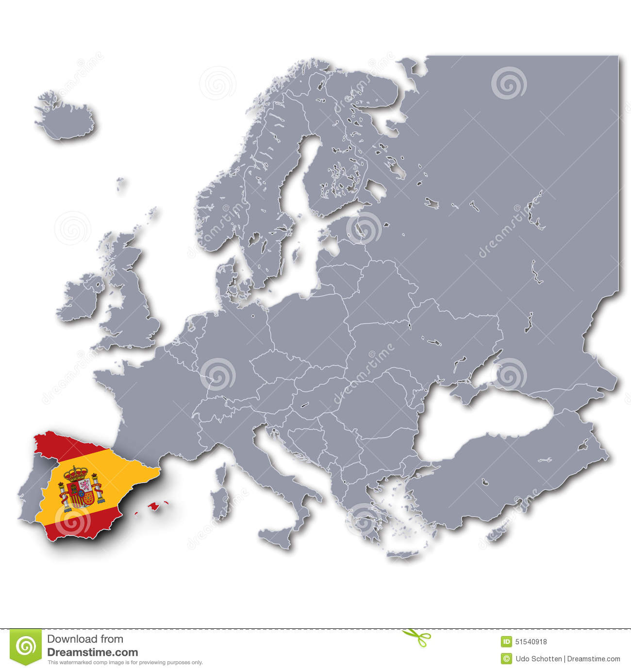 Spain On A Map Of Europe.Map Of Europe With Spain Stock Photo Image Of Area Monarchy 51540918