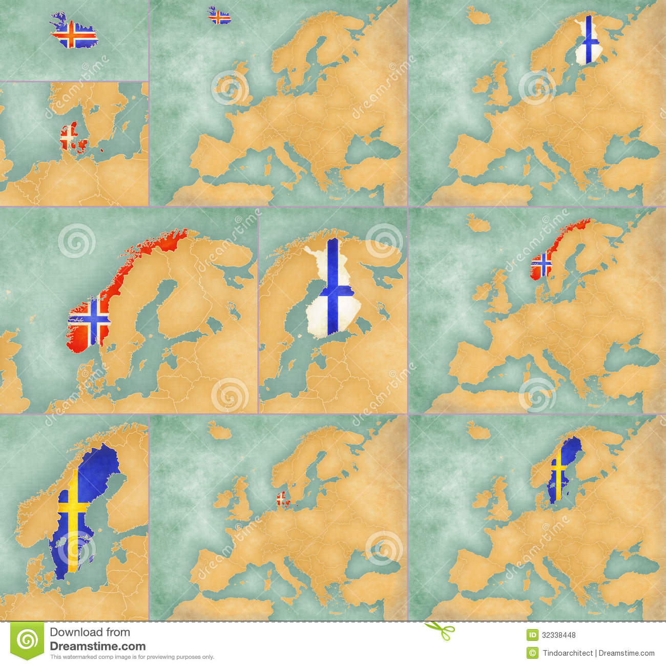 Map Of Europe Summer Style Set Stock Illustration Image - Sweden big map
