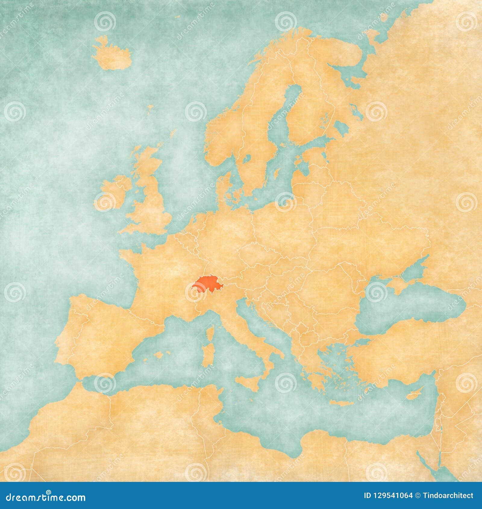 Map Of Europe Switzerland Stock Illustration Illustration Of