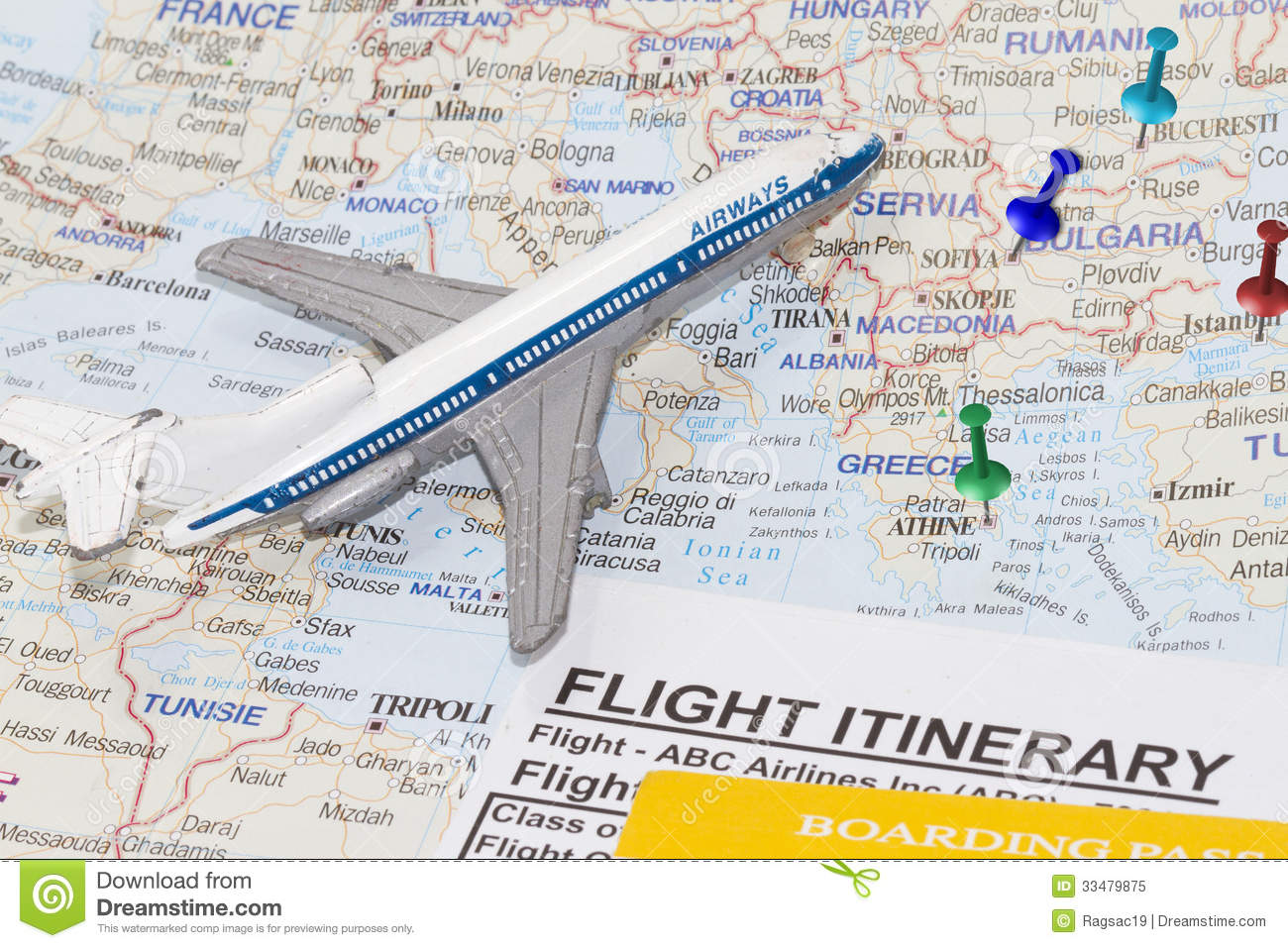 map of europe and toy airplane