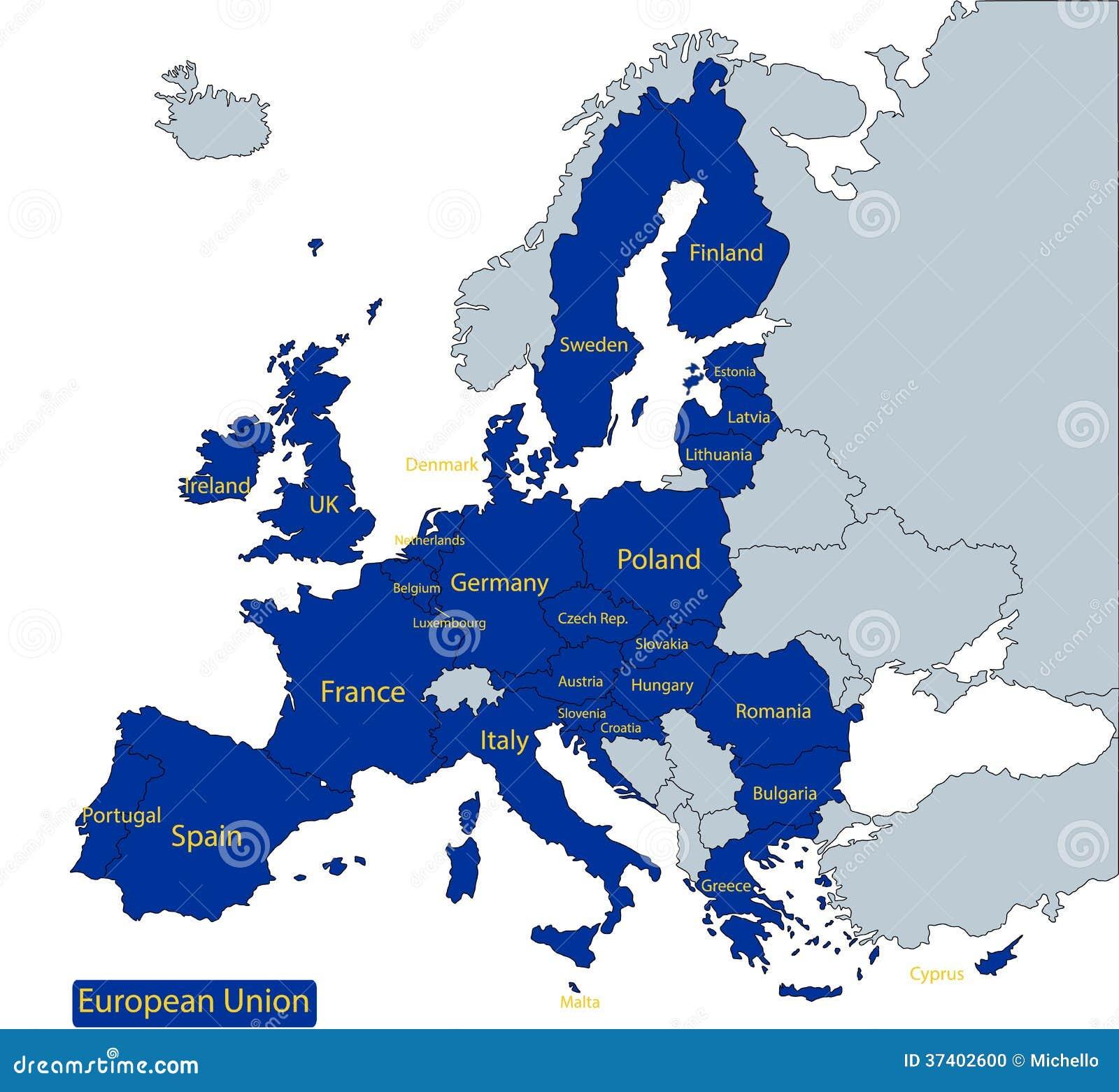 Map Of European Union Stock Vector Illustration Of Ireland 37402600