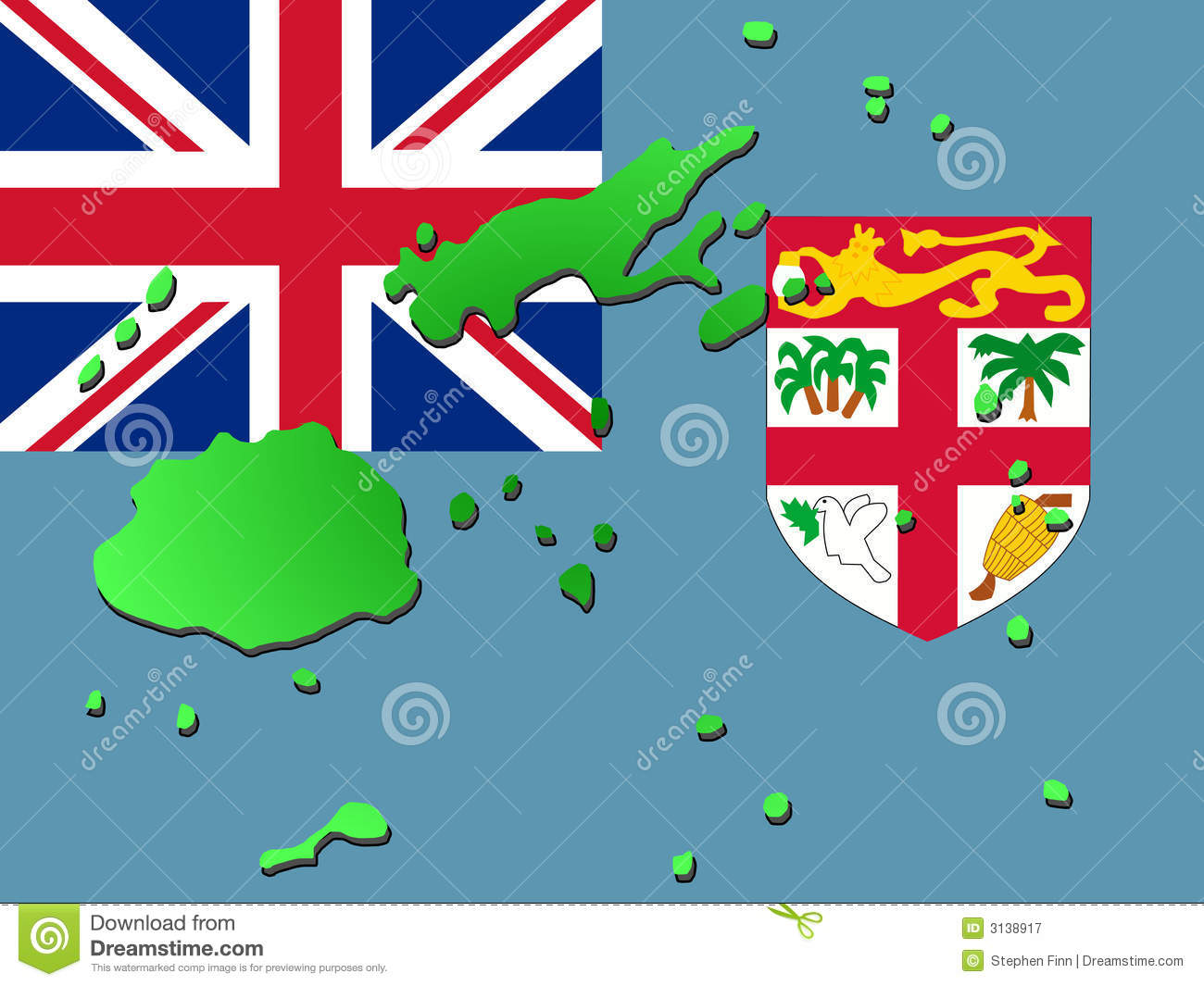 Map of Fiji with flag stock vector. Illustration of ...