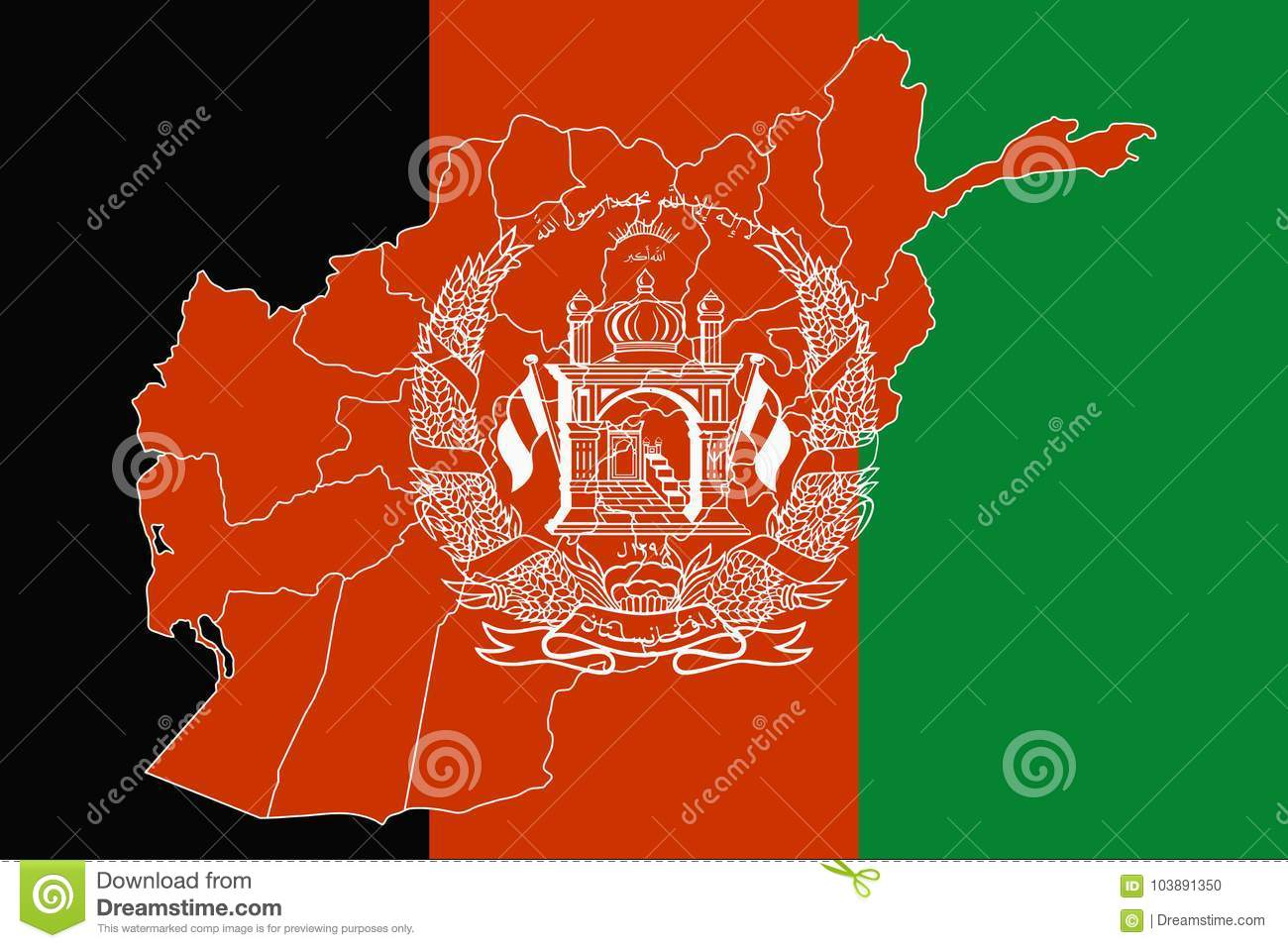 Map And Flag Of Afghanistan Stock Illustration - Illustration of ...