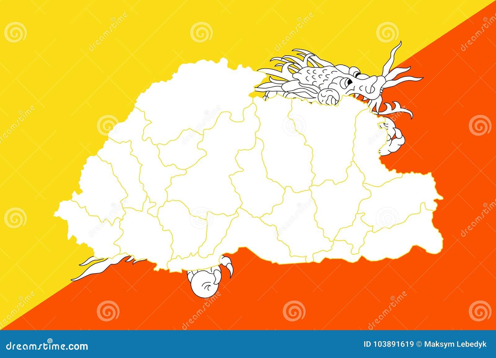 World Map Bhutan.Map And Flag Of Bhutan Stock Illustration Illustration Of