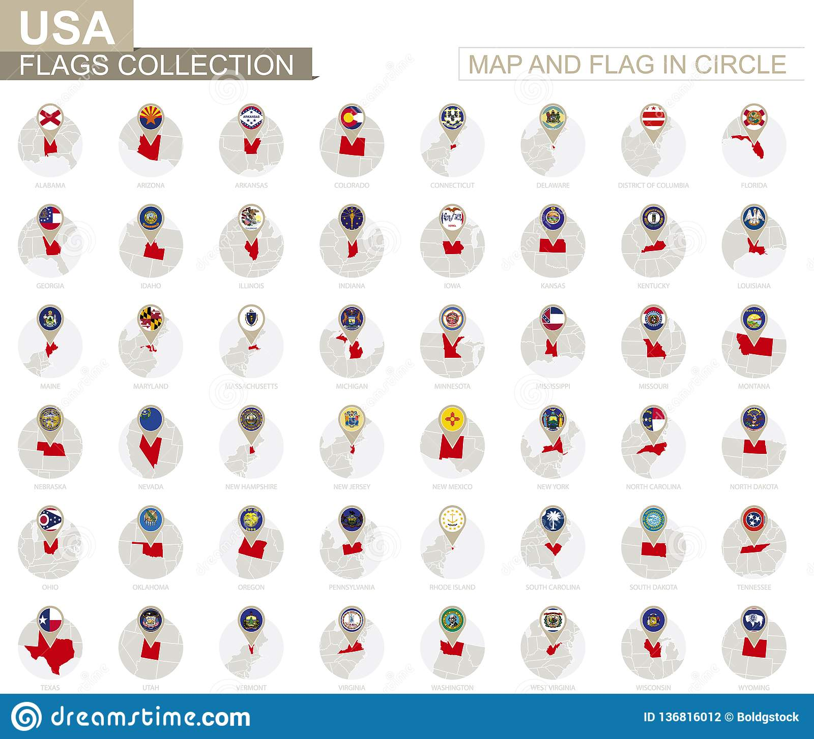 Map And Flag In Circle U S States Collection Stock Vector Illustration Of Continent Flag 136816012