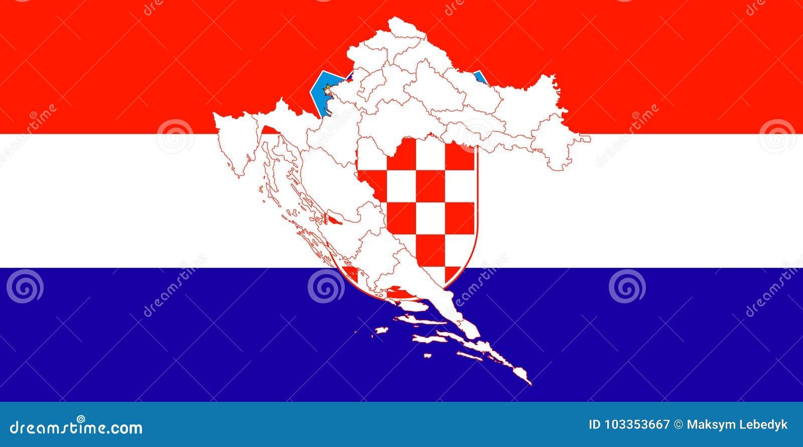 Map And Flag Of Croatia Stock Illustration Illustration Of City
