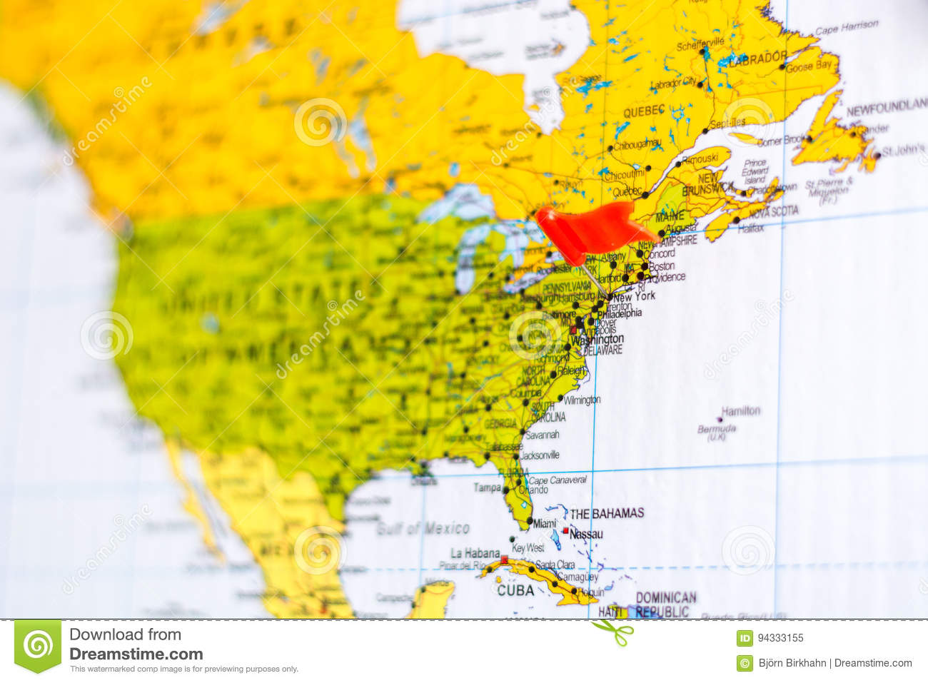 Map With Flag On It Destination Is Los Angeles Stock Image Image