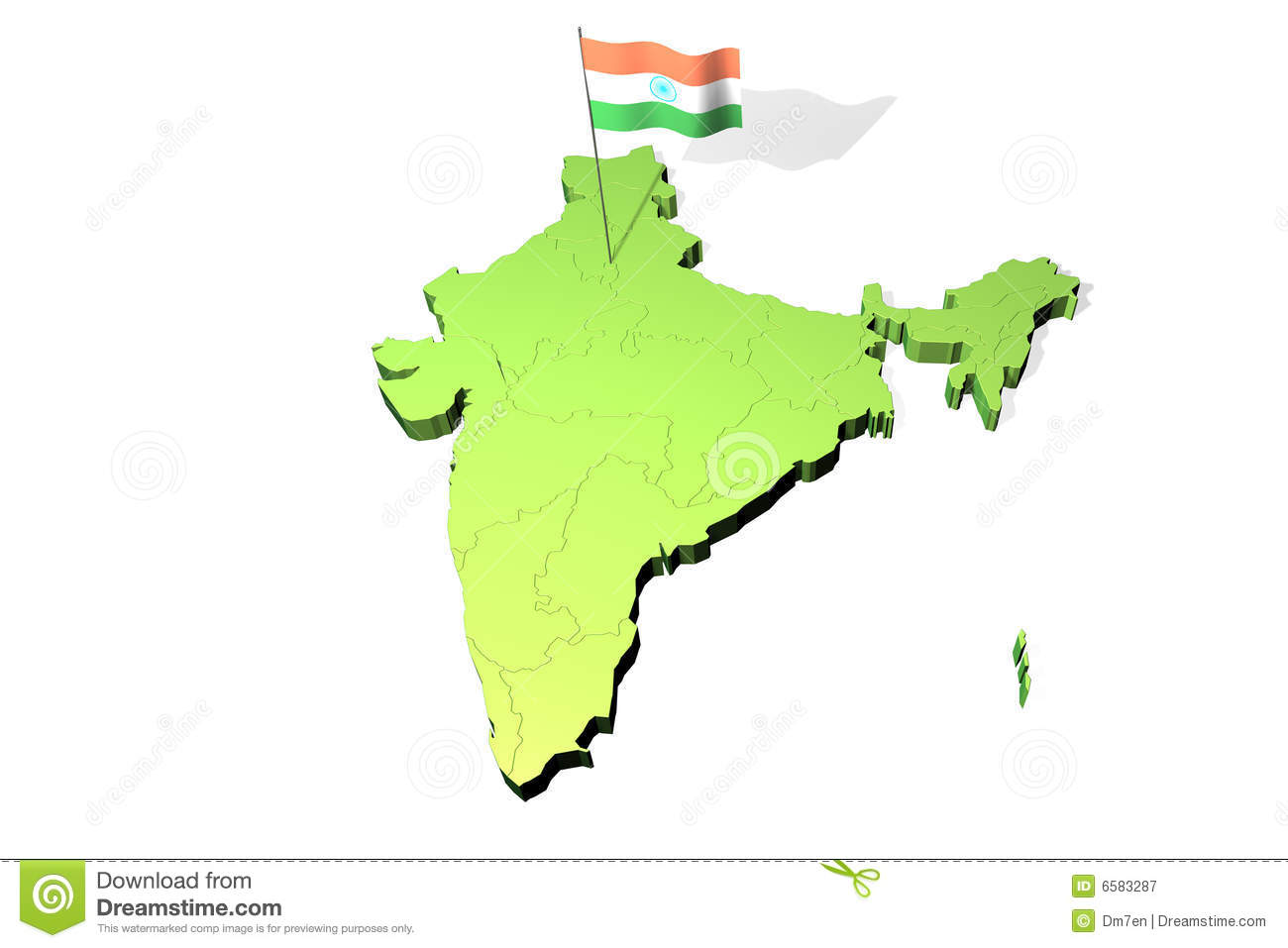 India Flag Map: Map And Flag Of India Stock Illustration. Image Of Capital