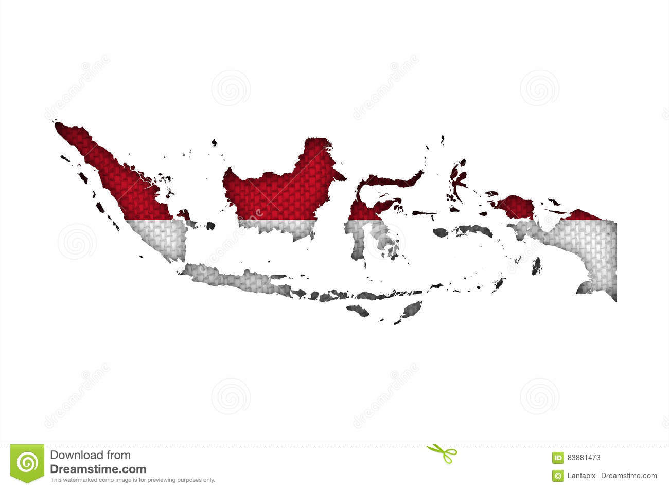 Map and flag of Indonesia on old linen