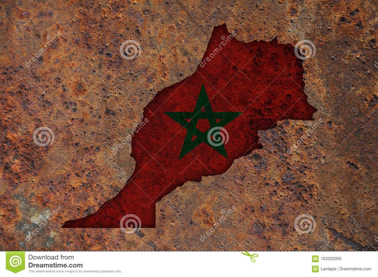 Map and flag of Morocco on rusty metal