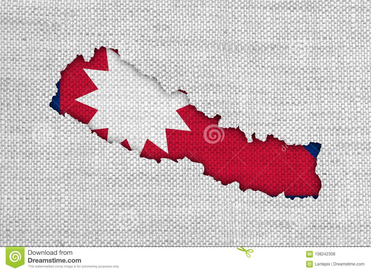 Map And Flag Of Nepal On Old Linen Stock Photo - Image of retro ...