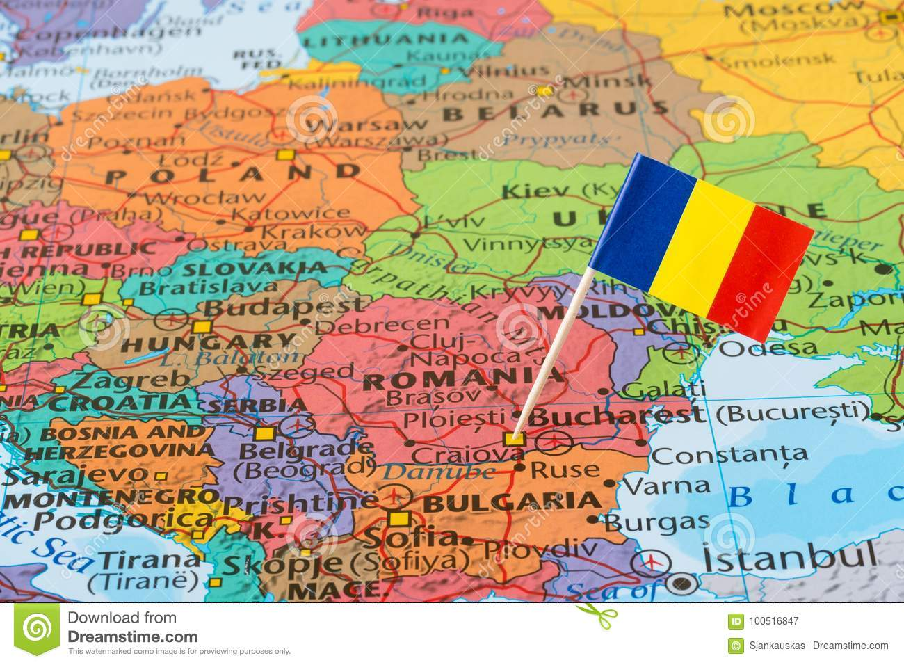 Romania Map And Flag Pin Stock Image Image Of Exploration 100516847