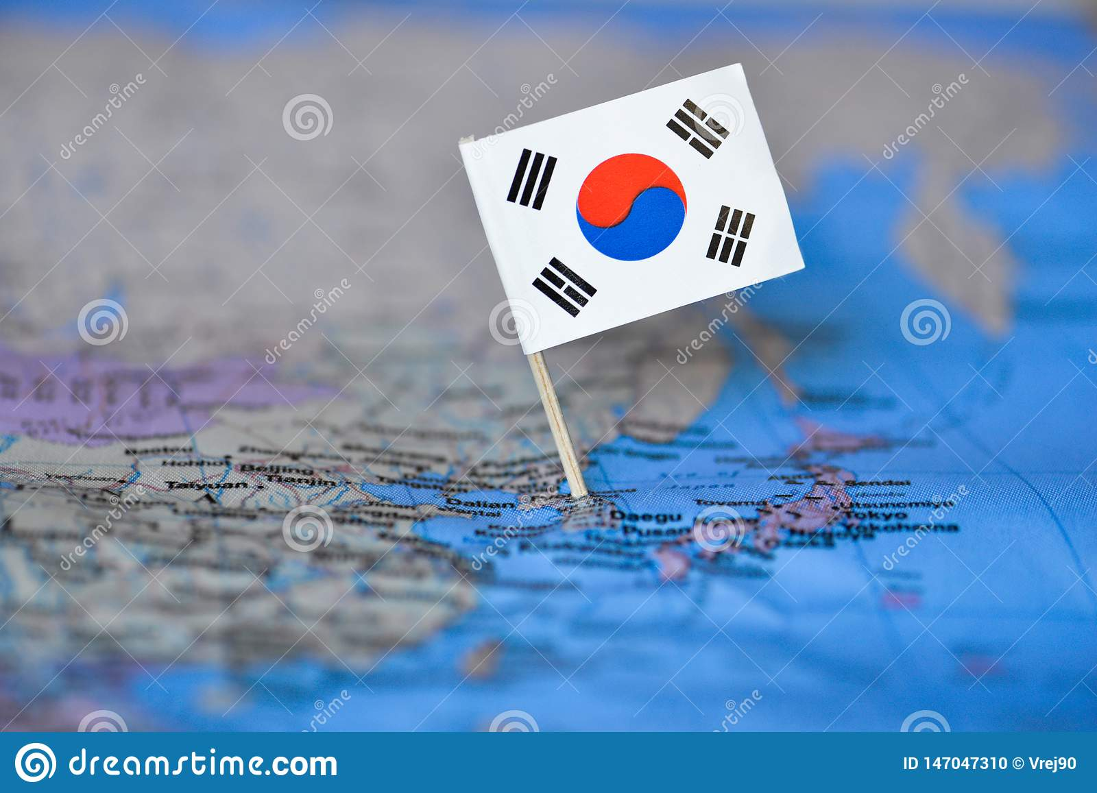 Map with flag of South Korea