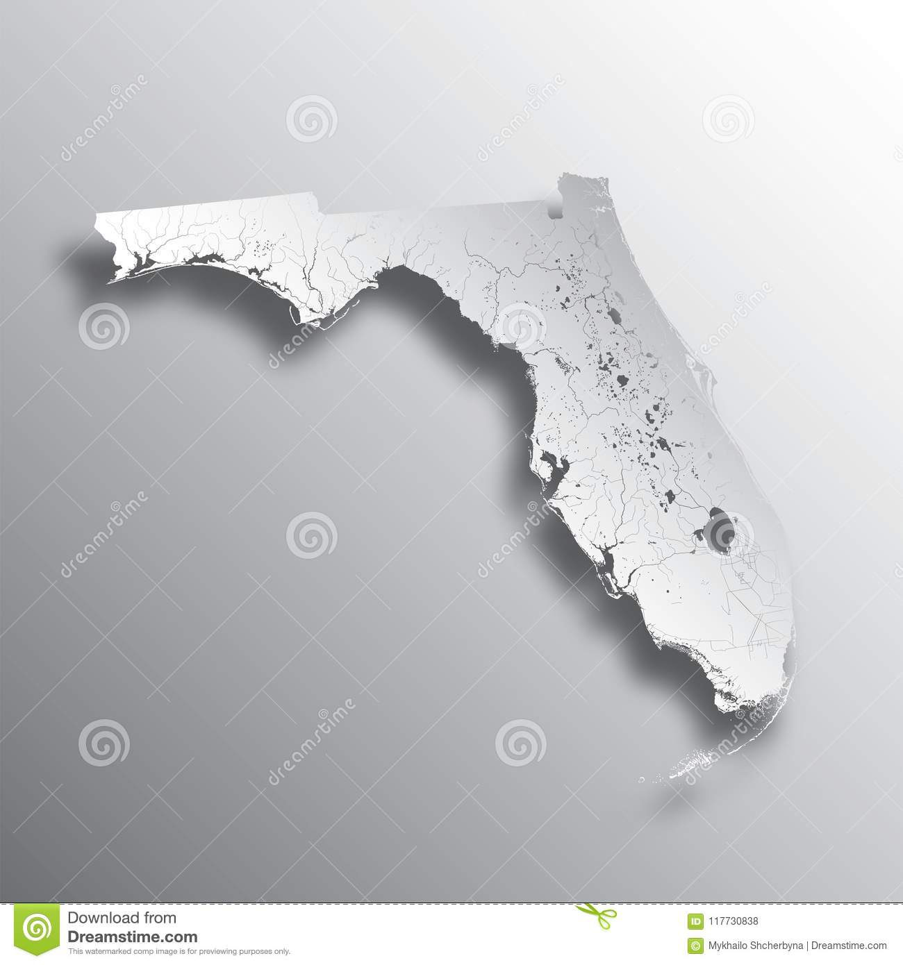 Florida Lakes Map.Map Of Florida With Lakes And Rivers Stock Vector Illustration Of