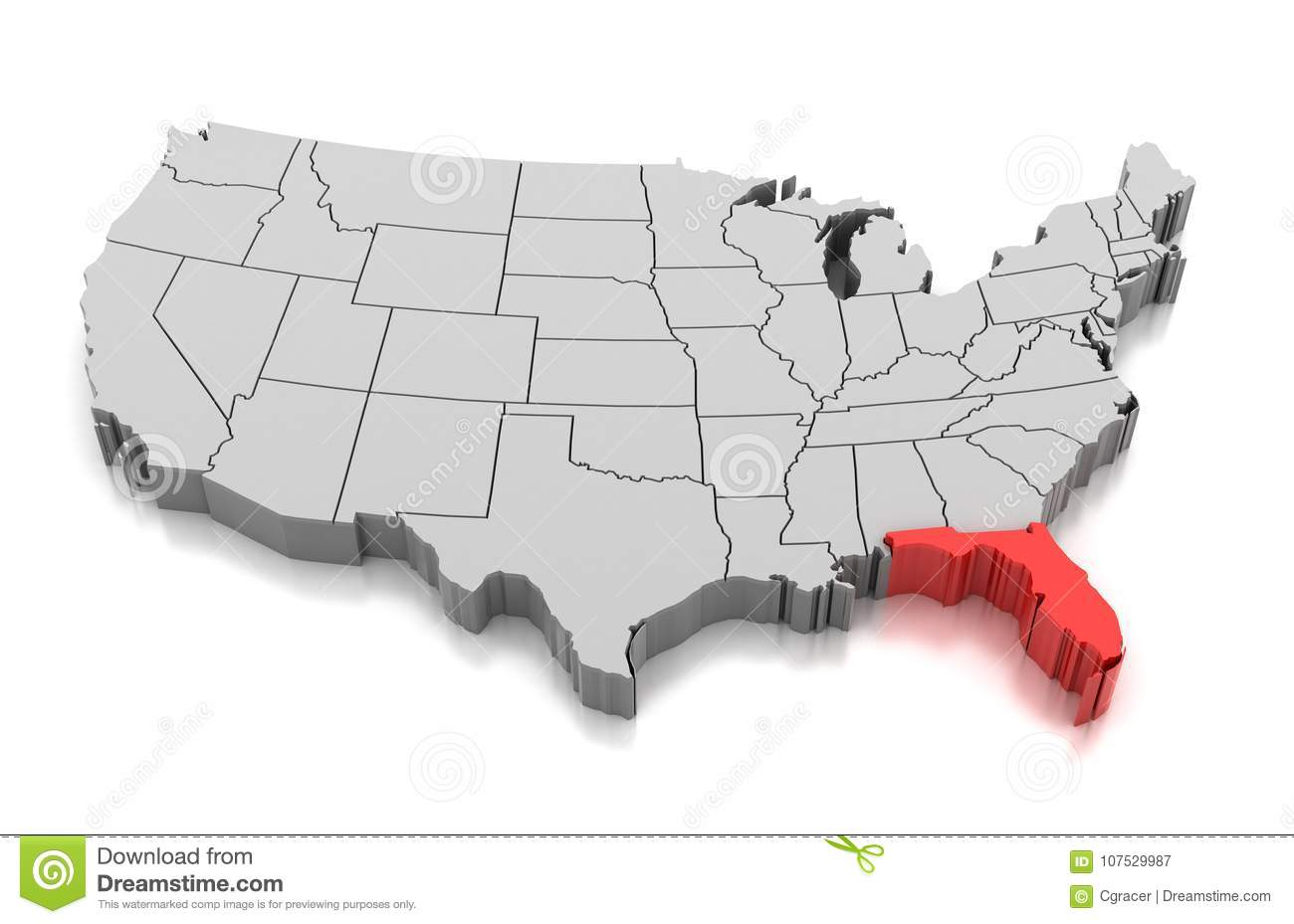 Florida In Usa Map.Map Of Florida State Usa Stock Illustration Illustration Of