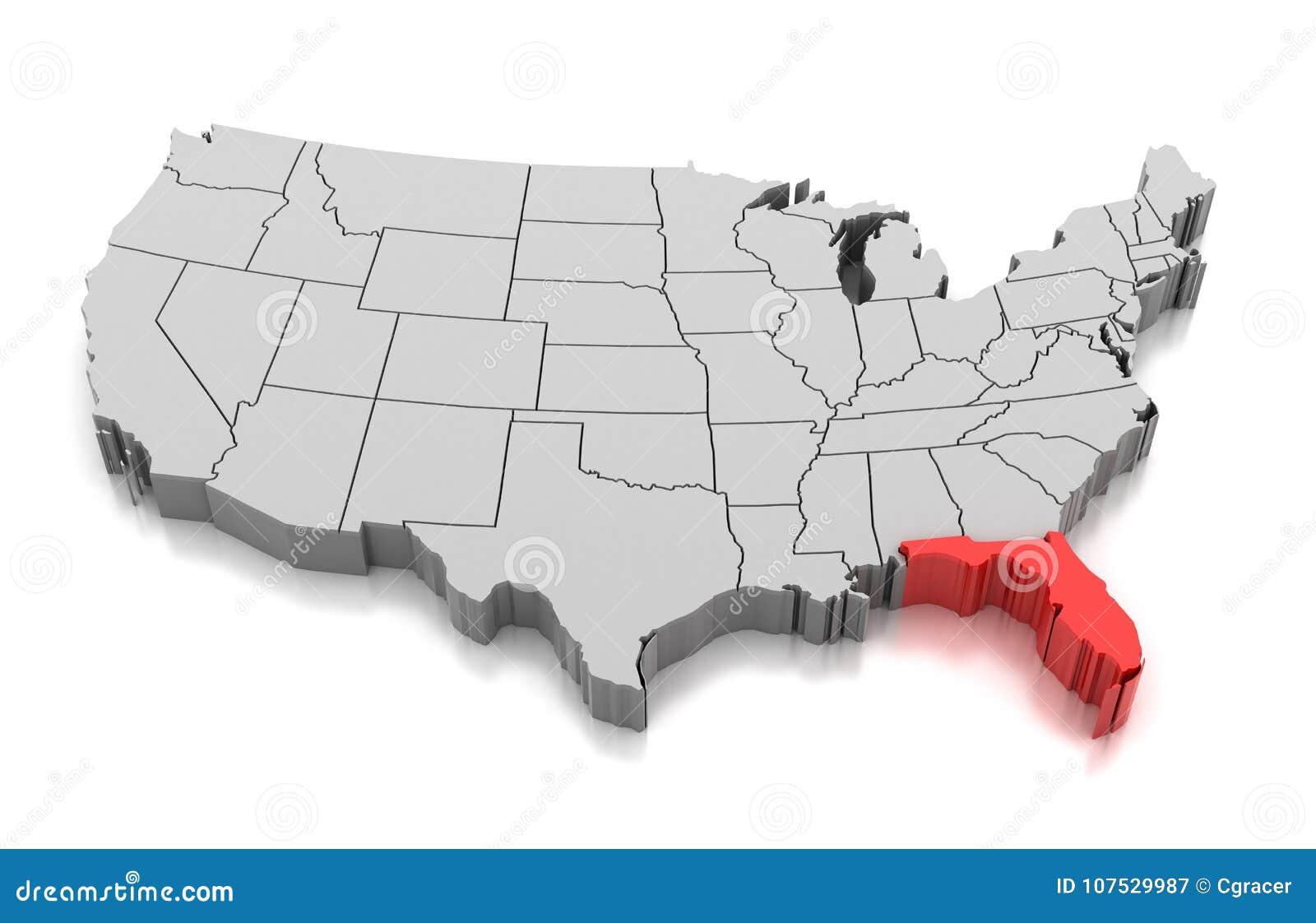 Usa Map Florida State.Map Of Florida State Usa Stock Illustration Illustration Of