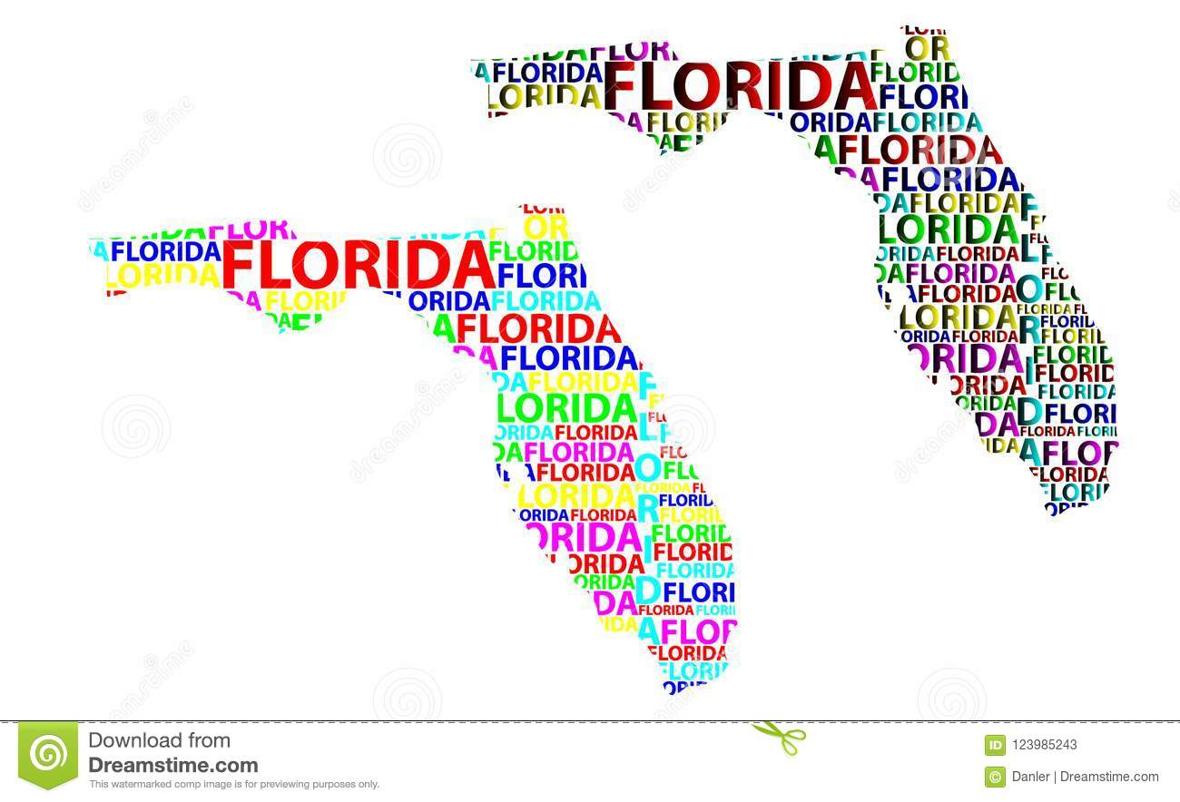 State Map Of Florida.Map Of Florida Vector Illustration Stock Vector Illustration Of