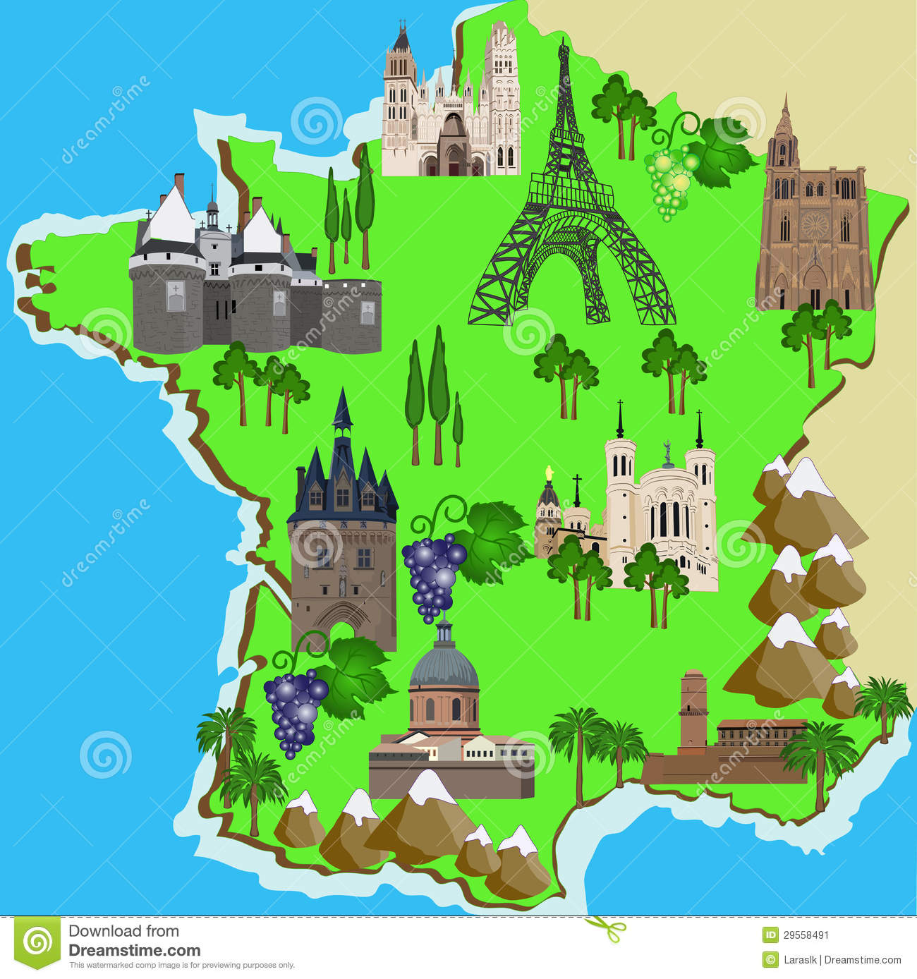 Mountain Map Of France.Map Of France Stock Vector Illustration Of Mountain 29558491