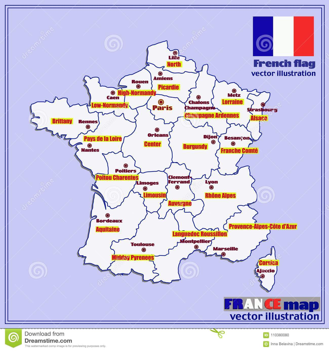 Map Of France Regions With Cities.Map Of France With French Regions Vector Stock Vector
