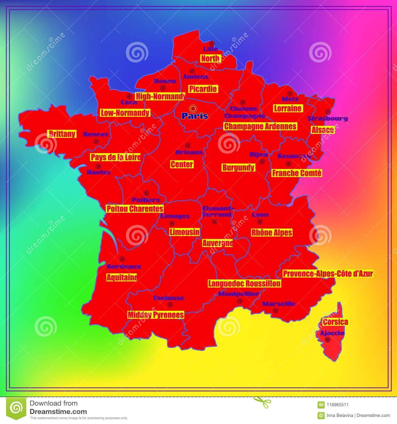 Map Of France Regions And Cities.Map Of France With French Regions Stock Illustration Illustration
