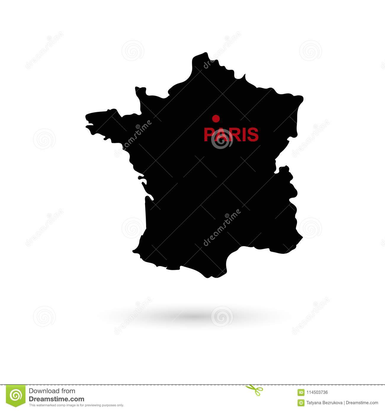 City Map Of France.Map Of France With Capital City Name Black On White Background