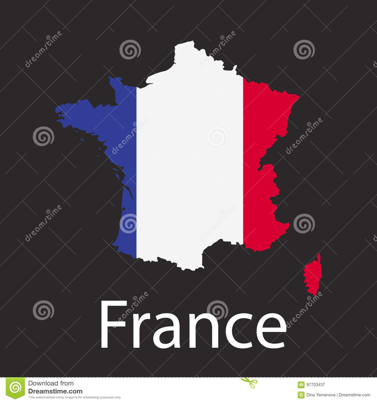 Country Map Of France.Map Of France Country In Color Of National Flag Silhouette Of