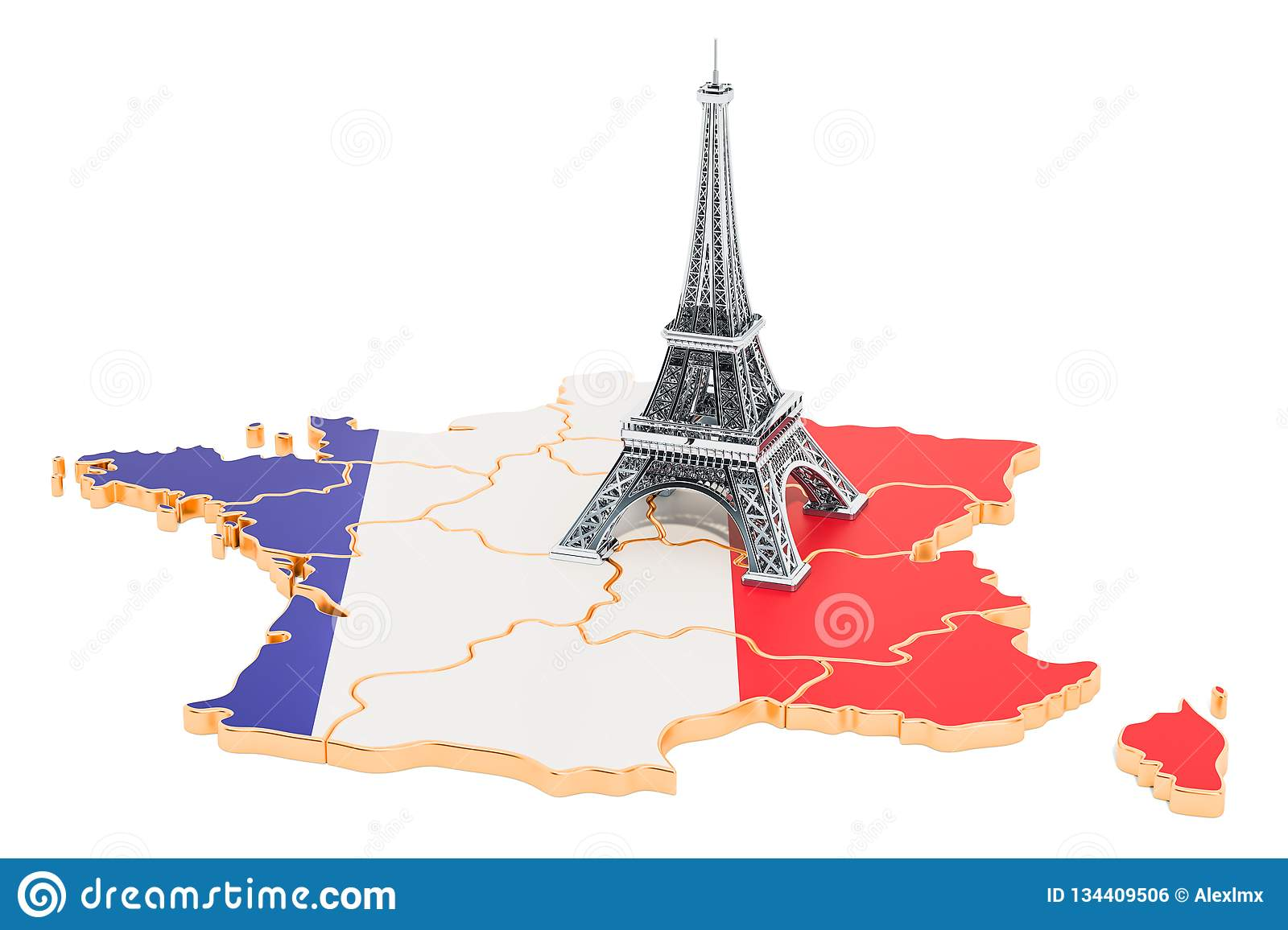 Map Of France Eiffel Tower.Map Of France With Eiffel Tower 3d Rendering Stock Illustration