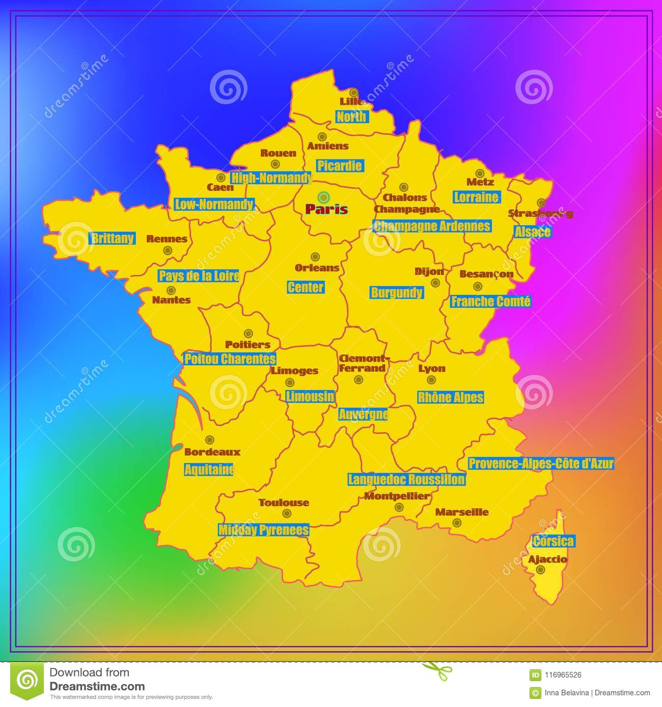 Map Of France Regions With Cities.Map Of France With French Regions Stock Illustration Illustration
