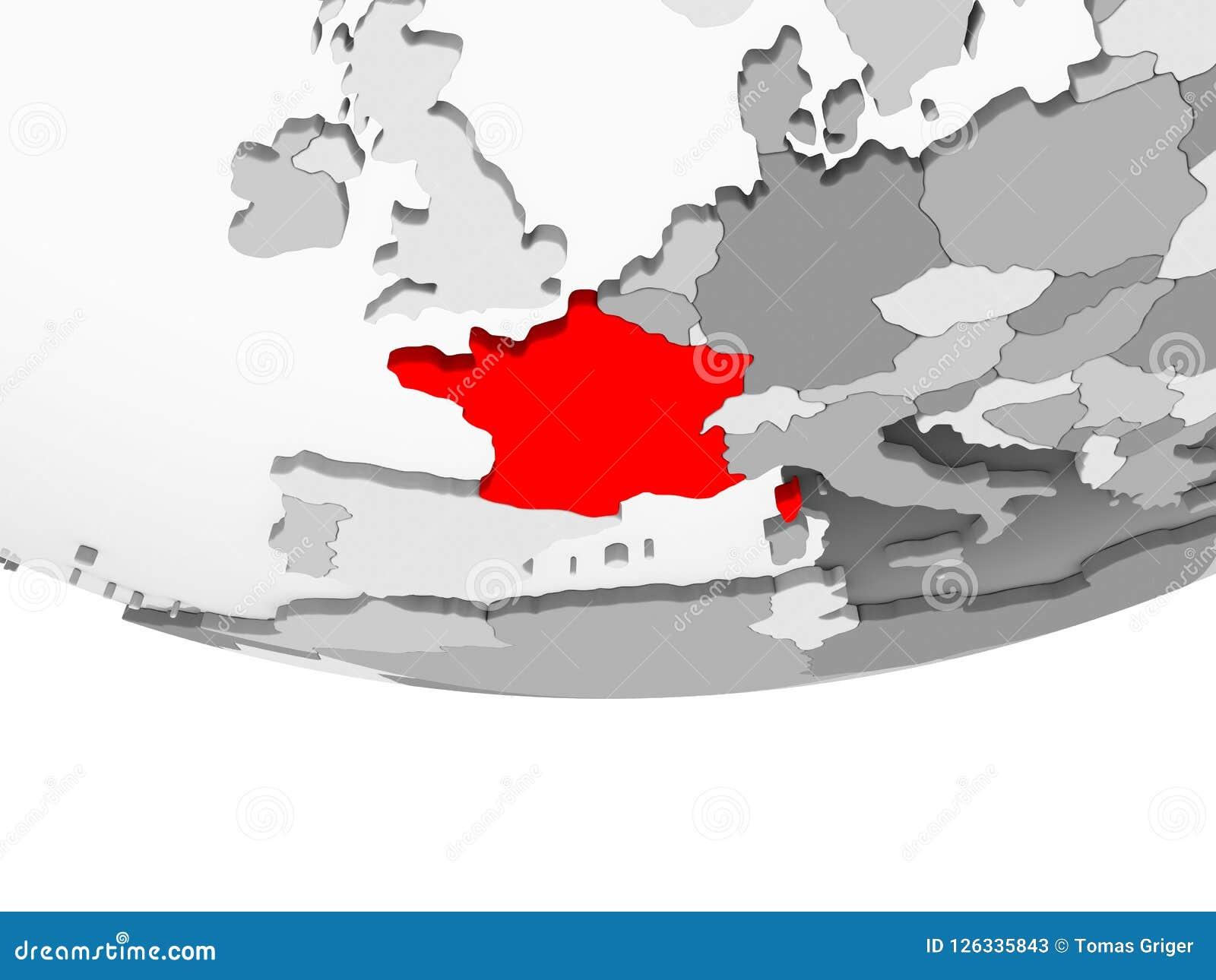 Map Of France Political.Map Of France On Grey Political Globe Stock Illustration